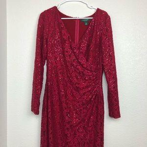 Lauren Ralph Lauren evening red lace gown